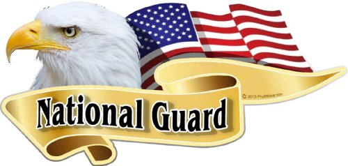 "ProSticker 922 (One) 3"" X 6"" American Pride Series ""National Guard"" Bald Eagle Decal Sticker"