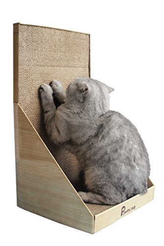 41mYqCfshxL - Pawmosa Cat Scratcher, Vertical Cardboard Cats Scratching Post, Lounge Bed as Furniture Protector and Home Décor Include Free Catnip (Honey)