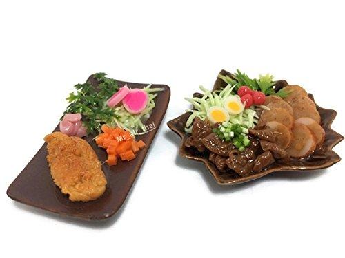 Mr_air_thai_Miniature 2 Miniature Sushi Set Food Dollhouse Drink Japan Food Bento Vegetable Fruit Decor Furniture (Fried Pork,Meat Set) F05 ()