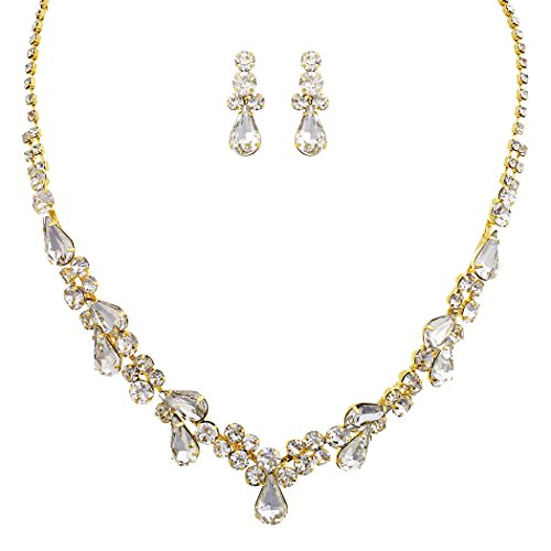 Set Gold Tone Jewelry Rhinestone - Rosemarie Collections Women's Rhinestone Teardrop Statement Necklace Drop Earrings Set (Gold Tone/Clear)