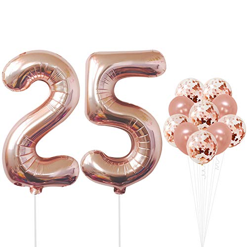 Rose Gold 25th Birthday Decorations - Pack of 12 | Large Mylar Foil Balloon and Confetti Latex Balloons | Real Rose Gold Party Supplies | Great for 25 Years Wedding Anniversary, Home Office Decor