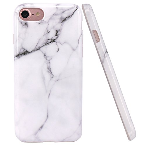 JAHOLAN White Marble Design Clear Bumper Glossy TPU Soft Rubber Silicone Cover Phone Case Compatible with iPhone 7 iPhone 8