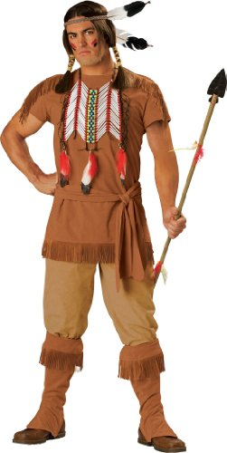 InCharacter Costumes, LLC Men's Indian Brave Costume with Fringe Detail, Brown, X-Large (Indian Mens Costume)
