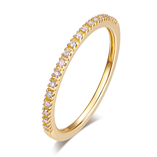 14K Gold Riviera Petite Micropave Diamond Half Eternity Wedding Band Ring for Women, 1.5mm (Yellow-Gold, 8) (Yellow Gold Ring Diamond Solid)