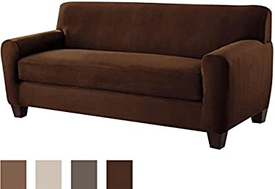 Tailor Fit Stretch Fit Micro Suede 2-Piece Slipcover Furniture Protector for Box Cushion Sofa