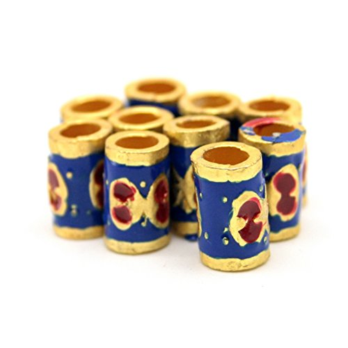 Beautiful Bead 10 pcs Enamel Cloisonne Tube Shaped Jewelry Findings for Bracelets and Necklaces Gold and (Blue Cloisonne Tube Beads)