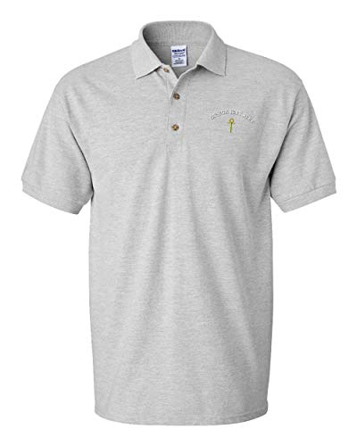 red Egyptian Cross Men's Adult Button-End Spread Short Sleeve Cotton Polo Shirt Golf Shirt - Oxford Grey, 3X Large ()
