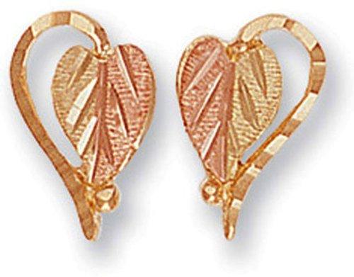- Landstroms 10k Black Hills Gold Split-Leaf Heart Earrings - G LER630P