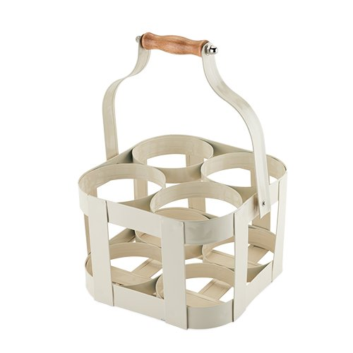 - Twine Rustic Farmhouse Vintage 4 Bottle Carrier, White