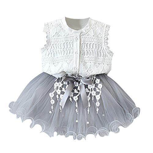 Toddler Kids Baby Girls Outfits Clothes 2PCS Set Lace Shirt+Beaded mesh Bowknot Tulle Skirt White