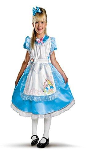 [Girls Alice Deluxe Kids Child Fancy Dress Party Halloween Costume, 3T-4T] (Comical Fancy Dress Costumes)