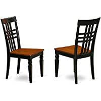 East West Furniture LGC-BCH-W Logan Dining Chair with Wood Seat - black & Cherry Finish