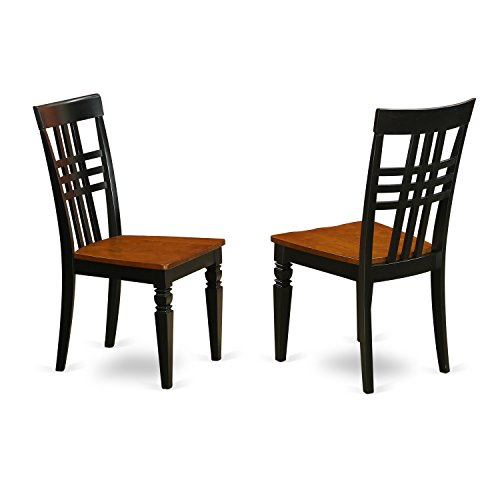 East West Furniture LGC-BCH-W Logan Dining Chair with Wood Seat - black & Cherry (Leather Cherry Wood Finish Chair)