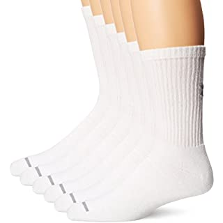 Under Armour Men's Charged Cotton Crew Socks (Pack of 6), White, Medium
