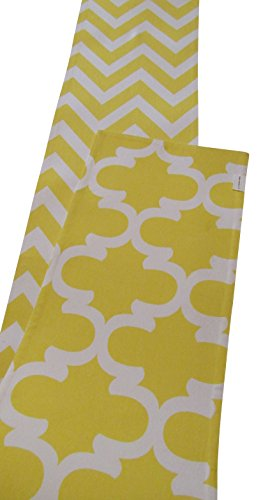 Crabtree Collection Double Sided Table Runner - (12 x 90, Dandelion Yellow Chevron/Trellis) ()