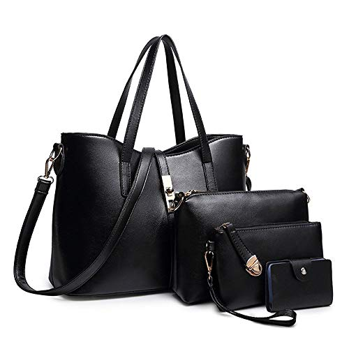 SIFINI Women Fashion PU Leather Handbag+Shoulder Bag+Purse+Card Holder 4pcs Set Tote (black)