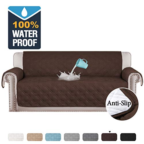 "H.VERSAILTEX 100% Waterproof Extra-Wide Couch Cover for Dogs Non-Slip Oversized Sofa Covers for Leather Couch, Seat Width Up to 78 Inch Washable Furniture Protector (Oversized Sofa 78"", Brown)"