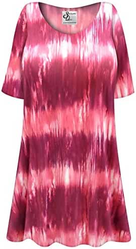 Pink Abstract Slinky Print Plus Size Supersize Extra Long A-Line Top