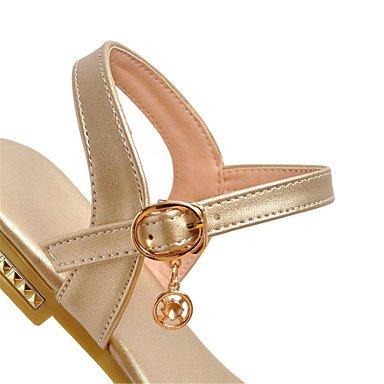 LvYuan Tacón Plano-Confort Suelas con luz-Sandalias-Vestido Informal-Semicuero-Negro Plata Gris Oro Silver