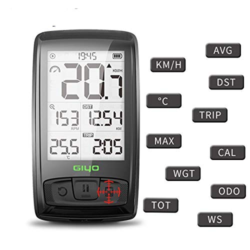 Lvshiguang - Velocímetro inalámbrico Bluetooth 4.0 para Bicicleta y odómetro multifunción Resistente al Agua con Pantalla LCD retroiluminada