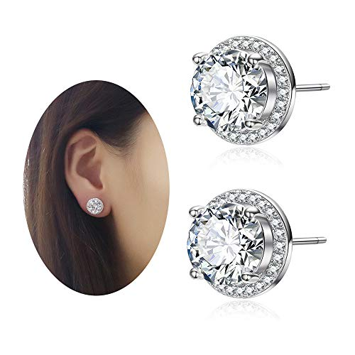 EGOO&YAMEE 10mm Cz Cluster Cut Stud Earrings White Plated Round Halo AAA Cubic Zirconia Stud Crystal Earring for Girls