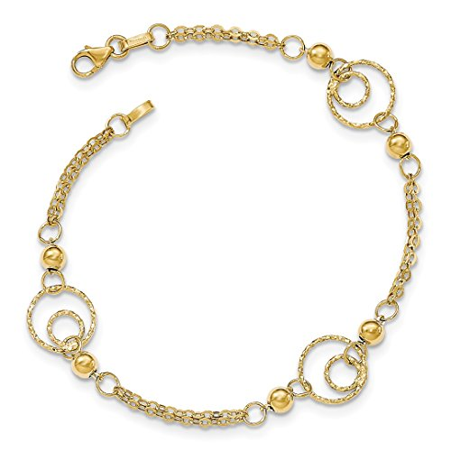 ICE CARATS 14kt Yellow Gold Textured Circles/Beads Bracelet 7.50 Inch Bead Beadsed Fine Jewelry Ideal Gifts For Women Gift Set From (Ice Yellow Gold Bracelets)