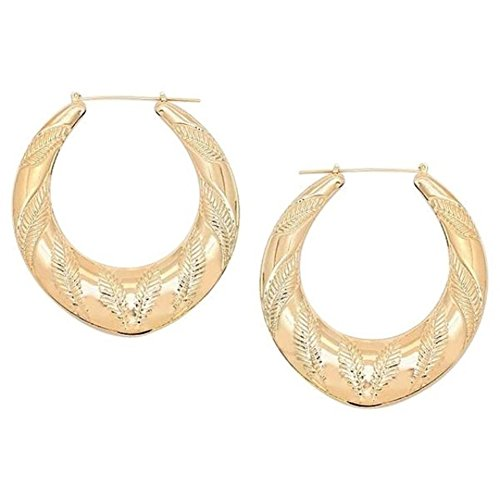 Modern Gems Leaf Pattern Gold-tone Retro Hoop Earrings 2.75