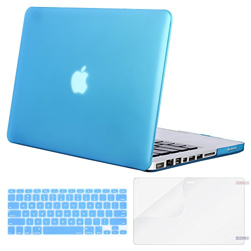 MOSISO Plastic Hard Shell Case & Keyboard Cover & Screen Protector Only Compatible Old MacBook Pro 13 Inch (A1278 CD-ROM), Release Early 2012/2011/2010/2009/2008, Aqua Blue