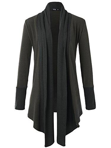 (JayJay Women Boyfreind Loose Fit Long Sleeve Open Shawl Long Sweater Cardigan,Charcoal,2XL)