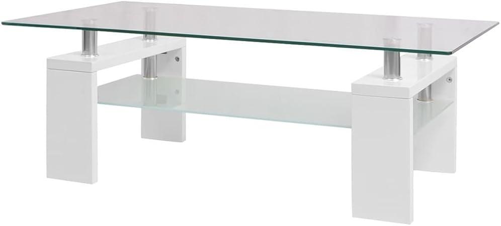 vidaXL Table Basse Haute Brillance avec Etag/ère Inf/érieure 110x60x40cm Blanc