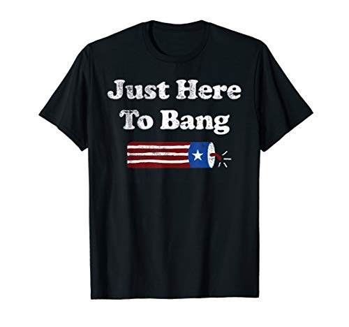 Funny Here T-shirt - Just Here to Bang Funny Fireworks 4th of July Pun Meme Joke  T-Shirt
