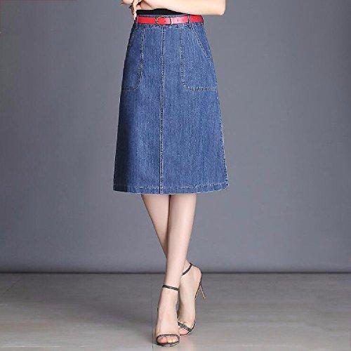 Blue QPSSP Une Jupe Longue Robe Jeans La La des Ceinture Jupe Haute Femmes des Taille Hqfqg6
