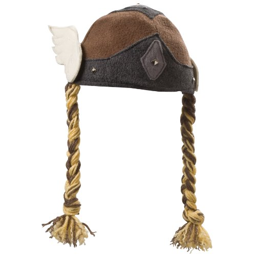 Fleece Braid Hat - Beasty Buddies Viking Valkyrie Girl Hat with Braids Small Brown Multicoloured