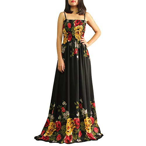 The WomenLand Tall Women Maxi Party Chiffon Floral Extra Long Black Dresses Plus Size (1X) (Extra Long Plus Size Maxi Dresses)