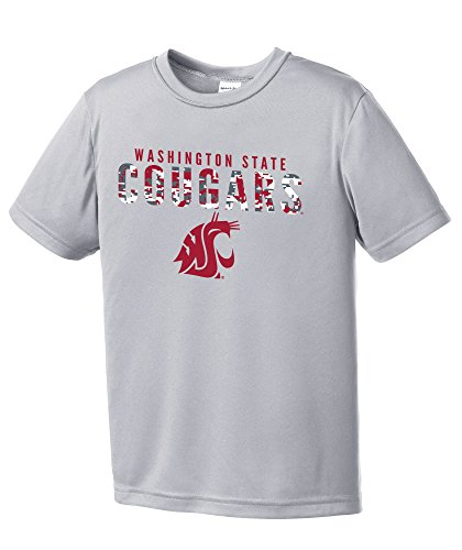 NCAA Washington State Cougars Youth Digital Camo Short Sleeve Polyester Competitor T-Shirt, X-Large,Silver