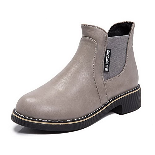 Gray Low Heels Closed Low Round Top Material On Toe Women's Boots WeiPoot Soft Pull qwFOTTf