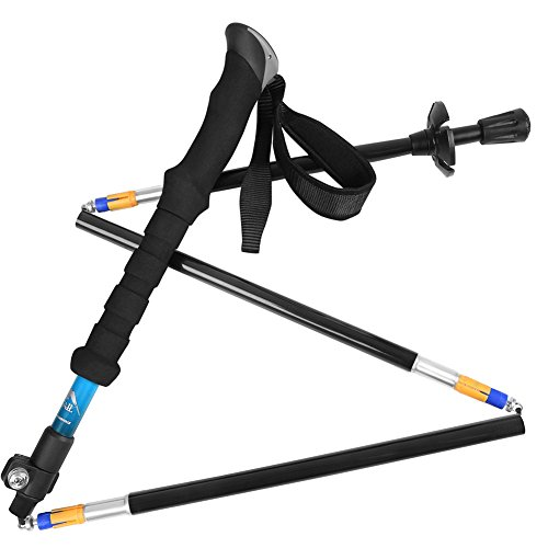 Bagail 1 PCS Bagail Folding Collapsible Trekking Pole Climbing Sticks with EVA Foam Handle, Ultralight Adjustable Alpenstocks, for Travel Hiking Climbing Backpacking Walking Blue