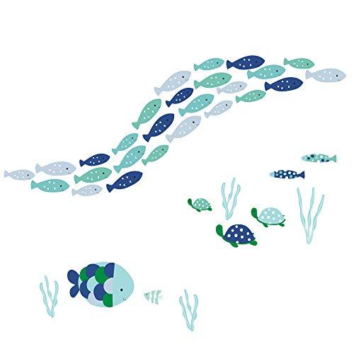 Lambs & Ivy Oceania Aqua/Blue Aquatic Fish Wall Decals/Stickers