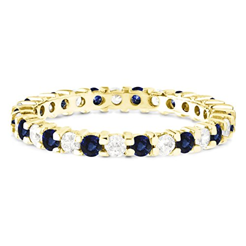 Stackable 1.7 mm Diamonds (G-H I2-I3) and Genuine Sapphire Set In 10k White Gold Double Shared Prong Eternity Ring (Diamond Prong Shared Eternity Band)