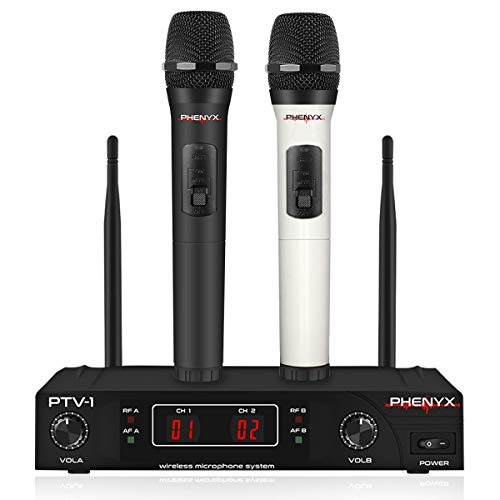 Wireless Microphone System, Phenyx Pro VHF Cordless Mic Set With 2 Handheld Mics, Color Coding, Easy Setup, Best for Home Use, Church, Youtube, Karaoke, Party Events (PTV-1A) (Best Karaoke System Setup)