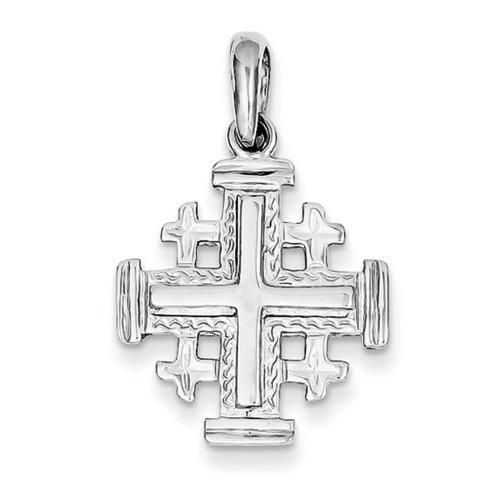 Icecarats Créatrice De Bijoux Or Blanc 14K Jerusalem Pendentif Croix
