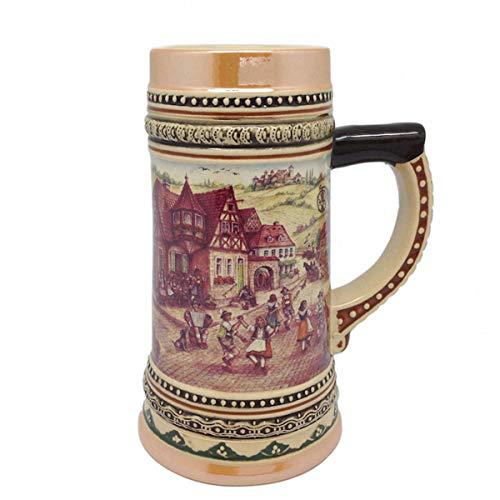 Ceramic Beer Stein with German Village Dancers 4.5