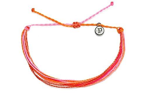 Pura Vida Pop of Pink Bracelet - Iron-Coated Copper Charm, Adjustable Band - 100% Waterproof