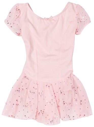 Capezio Little Girls' Sequined Puff Sleeve Dress, Pink,Toddler (Puff Sleeve Dance Dress)