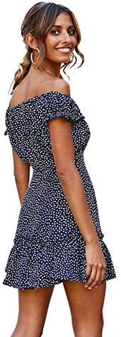 AZAIONE Anself Femmes Off épaule Dress Fresh Print Manches Courtes élégantes Dames Robes à Volants Slim Summer Dress Xxxl