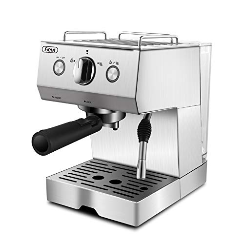 Espresso Coffee Machines & Cappuccino Steam Machine, 15 Bar High Pressure Pump with Power Milk Frother For Barista Brewing,Stainless Steel,1050W,Silver