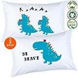 Odds n Dreams Dinosaur Pillowcase, Organic Cotton Pillow Cases, Eco-Friendly Hypoallergenic, Soft Kid Pillow Case for Kids, Toddlers, Boys, Girls (Set of 2, Standard Size)