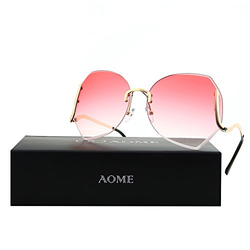AOME Oversized Rimless Sunglasses,Vintage Gradient Cutting Clear Lens Eyeglasses (Gold&Pink, - Oversized Sunglasses Rimless