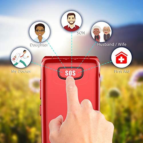 Uleway 3G Flip Phone for Seniors, Big Button Basic Flip Phone, Dual Screen Display, Dual SIM Large Volume & SOS Key Unlocked Phone for Elderly(Red)