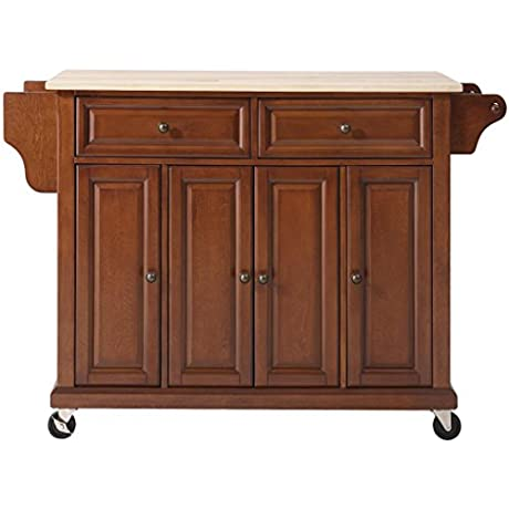 Crosley Furniture Rolling Kitchen Island With Natural Wood Top Classic Cherry